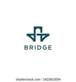 simple bridge symbol vector icon logo design