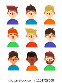 Simple bright avatars of young men