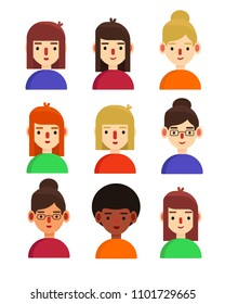 Simple bright avatars of young women
