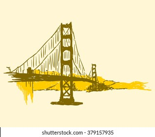 Simple brown and yellow panorama of the Golden Gate Bridge over the San Francisco Bay in the United States
