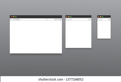 Simple browser internet mockups. Website different devices web window mobile screen internet flat template empty page network vector set