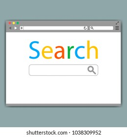 Simple browser window on gray background. Browser search. Flat vector stock illustration.