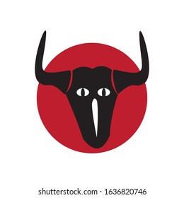 Raging Longhorn Bull Image Free Vector