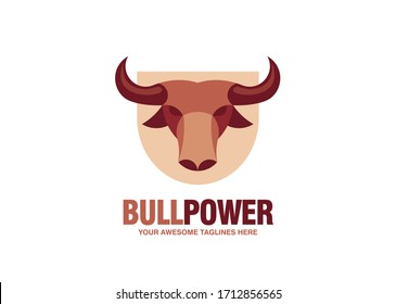 simple Bull head vector logo concept illustration