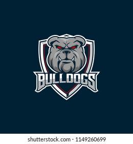 simple bulldog head cartoon vector badge logo for sports team