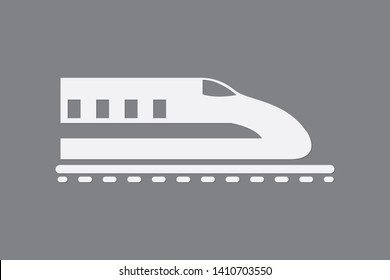 A simple bullet train on rail using white color on dark background vector illustration to mean fast delivery system