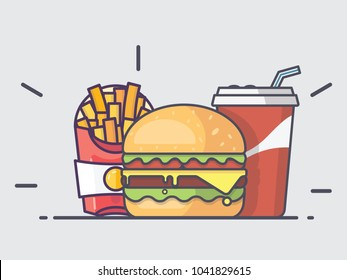 Simple Burger Set. Burger with Cheese, soda and French Fries. 2D Flat Style Graphic design. Template on isolated background. Can be used for ads or in Restaurant banner. Vector illustration EPS10