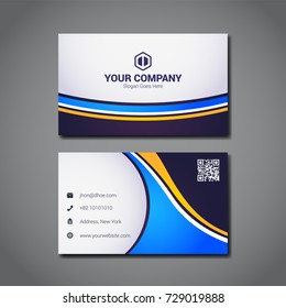 simple business card design template with company logo placeholder