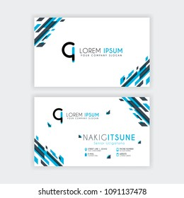 Simple Business Card with initial letter CI rounded edges with a blue and gray corner decoration.