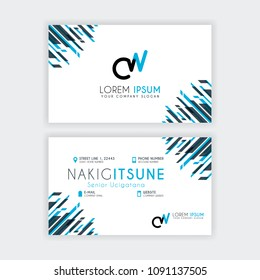 Simple Business Card with initial letter CW rounded edges with a blue and gray corner decoration.