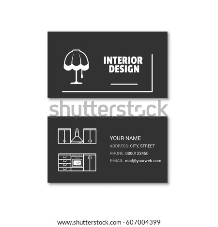 Simple Business Card Interior Designer Vector Stock Vector Royalty
