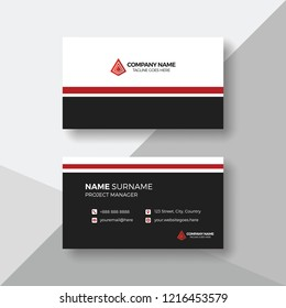 Simple business card with red details
