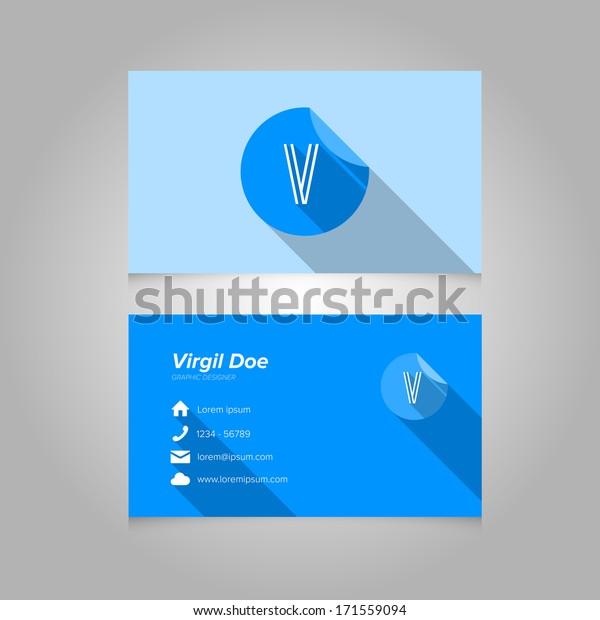 simple business card template alphabet 600w 171559094