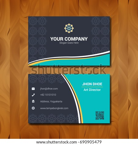 Simple business card template design company stock vector royalty simple business card template design with company logo on wood background fbccfo Images