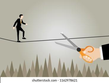 Simple business cartoon illustration of a businessman scared of sabotage