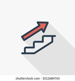 Simple Business flat line Icon of Career Path. Growth Advancement Vector Illustration. Linear vector symbol colorful long shadow design