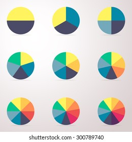 Simple business flat pie chart, graph, diagram with 2, 3, 4, 5, 6, 7, 8, 9, 10 steps, options, parts, processes. Vector template for presentation and training.