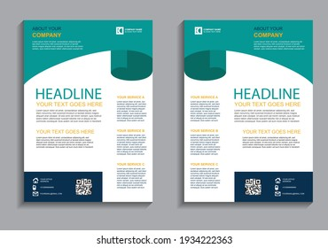 Simple Business flyer layout template. Brochure modern cover design, annual report, poster in A4  size with geometric and wavy  lines for business market on white background, vector illustration