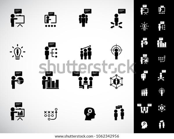 Simple business training icons set. Universal training icons to use for web and mobile UI, set of basic UI training elements