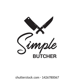 simple butcher logo design,butcher shop,butcher logo vector with masculine and luxurious