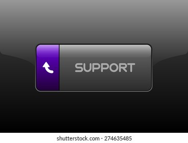 Simple button SUPPORT with color space for icons. Vector design elements.