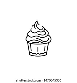 Simple cake icon, confectionery black sign, flat line stroke symbol pictogram isolated on white background for bakery, candy shop, web, mobile app, pictogram, logo, infographics, social media element