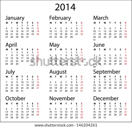 Simple Calendar 2014 Calendar Template On Stock Vector Royalty Free