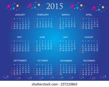Simple calendar 2015.Vector calendar .