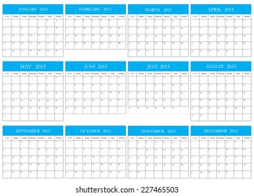 Simple calendar 2015.Vector illustration.Planning calendar.