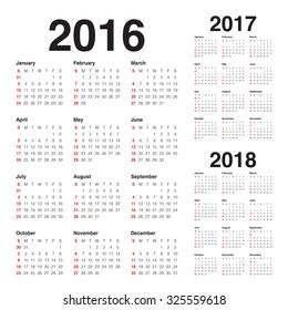 Simple calendar for 2016 2017 2018