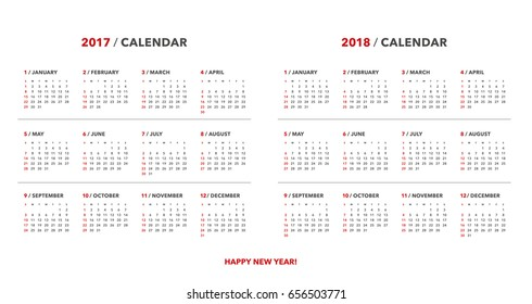 Simple calendar for 2017 and 2018 years. Week starts from Sunday.