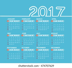 Simple calendar 2017. Week starts from sunday.Vector illustration.