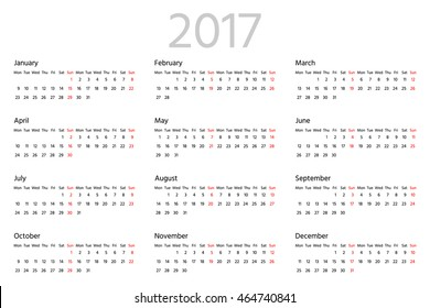 Simple calendar for 2017 year. Two weeks line. Week starts from Monday. Sans serif font, white background