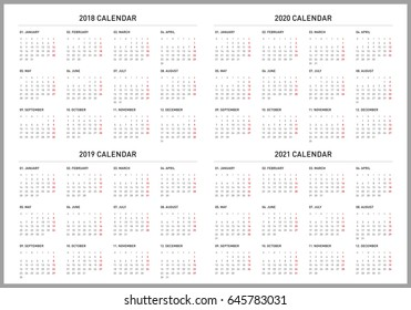 Simple calendar for 2018, 2019, 2020 and 2021 years. Week starts from Monday.