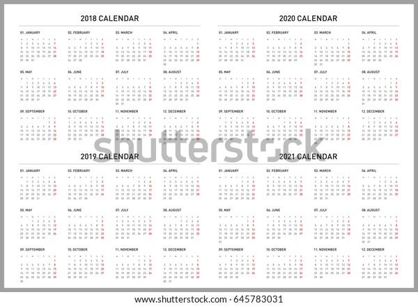 Simple Calendar 2018 2019 2020 2021 Stock Vector (Royalty Free