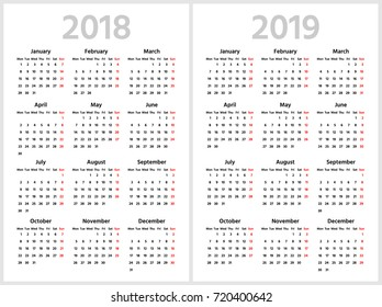 Simple calendar for 2018 and 2019 years. Week starts from Monday. Sans serif semi bold font, white background