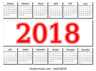 Simple Calendar of 2018 on a white background