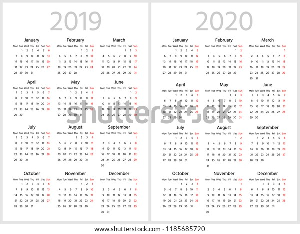 Simple Calendar 2019 2020 Years Week Stock Vector (Royalty Free