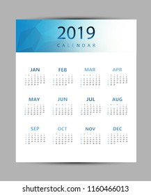 Simple calendar 2019. Abstract geometric background calendar for 2019.Week starts from sunday