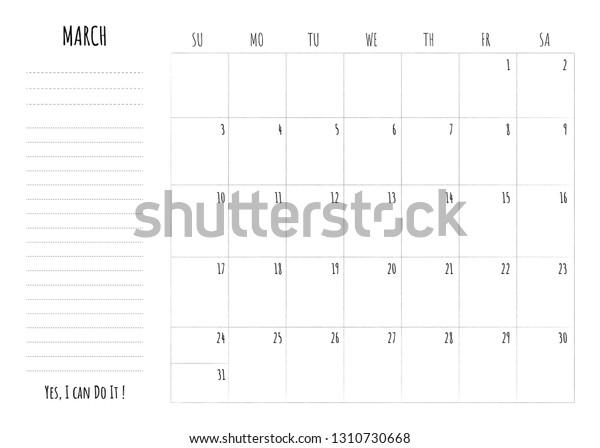 Simple Calendar 2019 Grid Do List Stock Vector (Royalty Free) 1310730668