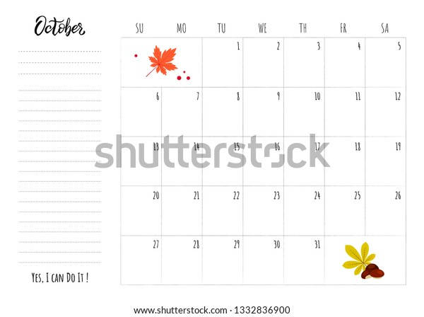 Simple Calendar 2019 Grid Lettering Month Stock Vector