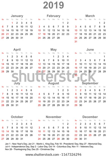 Simple Calendar 2019 Marked Official Holidays Stock Vector (Royalty