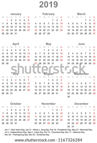 simple calendar 2019 one year at a glance starts monday with public holidays for