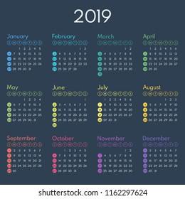simple calendar 2019, starts sunday