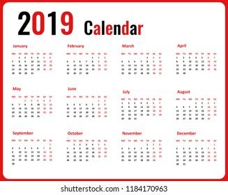 Simple calendar 2019 year