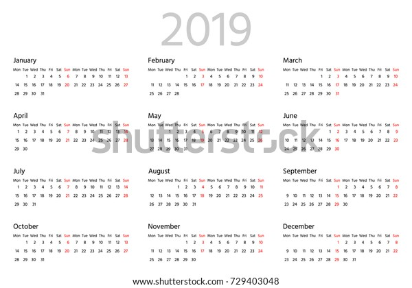 Simple Calendar 2019 Year Two Weeks Stock Vector (Royalty Free