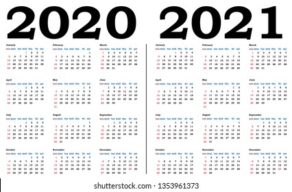 Vector de stock (libre de regalías) sobre Simple Calendar 2020 ...