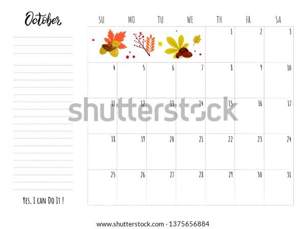 October 2020 Printable Calendar.Simple Calendar 2020 Grid Lettering Month Stock Vector Royalty Free