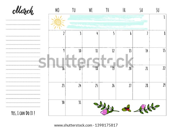 Simple Calendar 2020 Grid Lettering Month Stock Vector