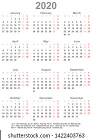 Simple calendar 2020 - one year at a glance - starts Monday with public holidays for the USA in a portrait format